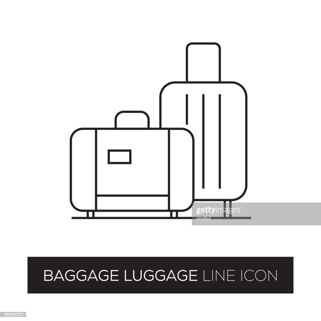 BAGGAGE LUGGAGE LINE ICON : stock illustration