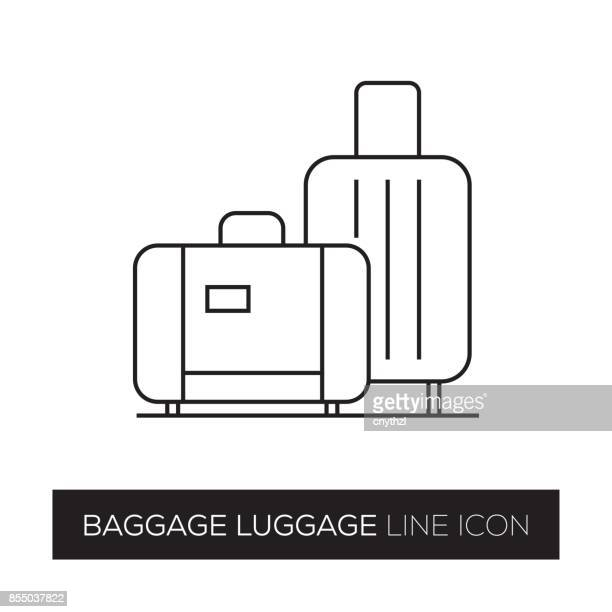 ilustraciones, imágenes clip art, dibujos animados e iconos de stock de equipaje equipaje línea icono - maleta
