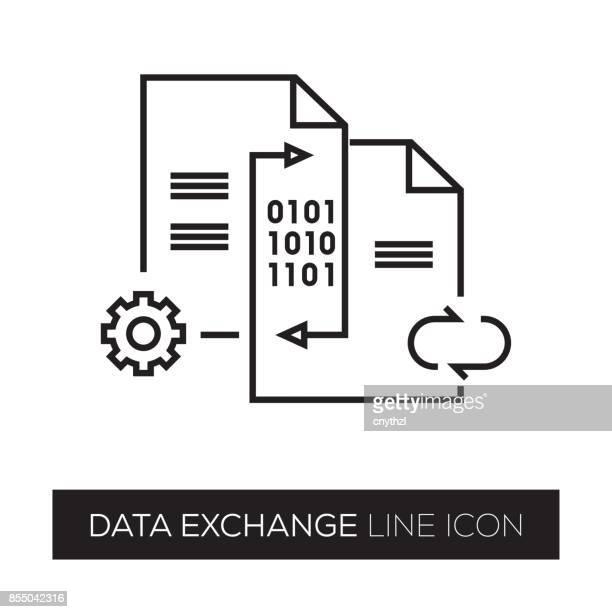 data exchange line icon - exchanging stock illustrations