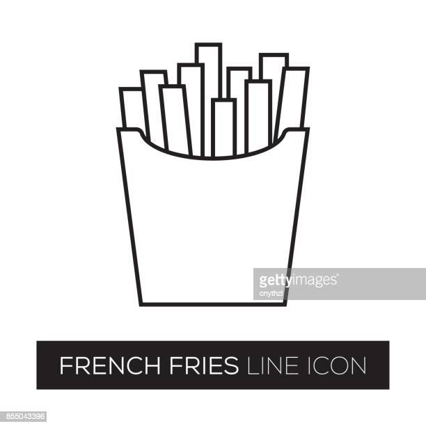 french fries line icon - french fries stock illustrations, clip art, cartoons, & icons