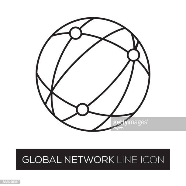 global network line icon - computer network stock illustrations, clip art, cartoons, & icons
