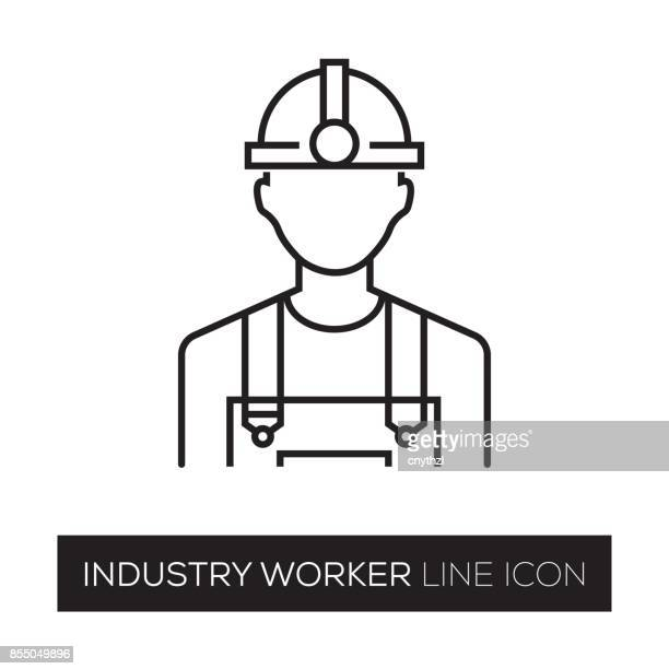 industry worker line icon - protective workwear stock illustrations, clip art, cartoons, & icons