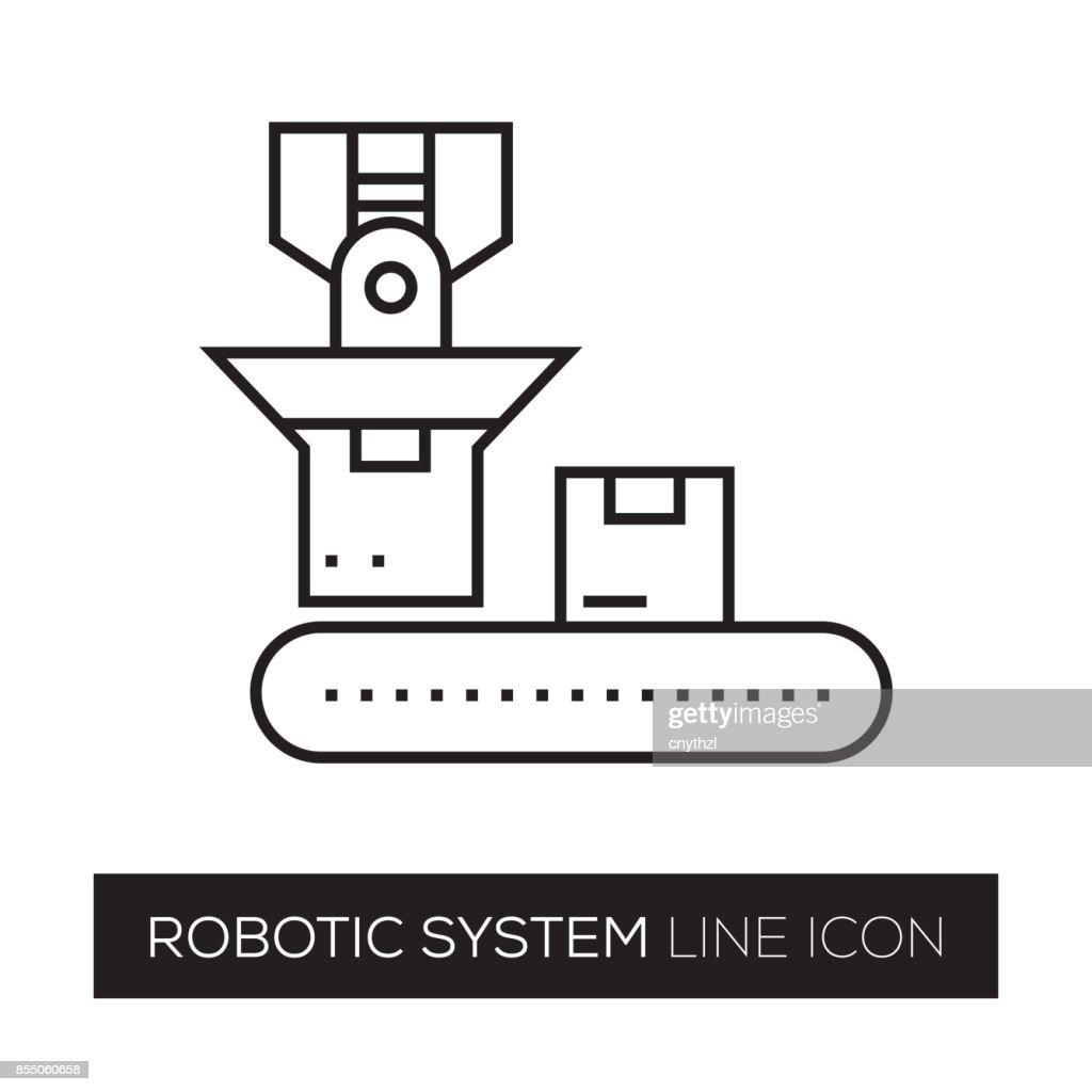 ROBOTIC SYSTEM LINE ICON : stock illustration