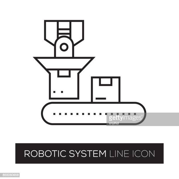 robotic system line icon - industrial music stock illustrations, clip art, cartoons, & icons