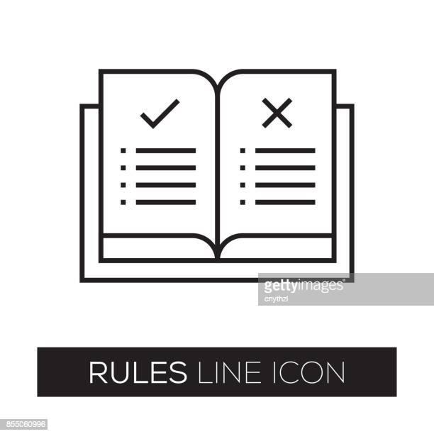ilustrações, clipart, desenhos animados e ícones de ícone de linha de regras - registro livro