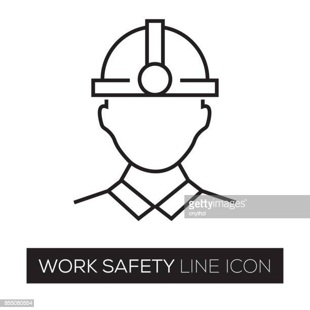 work safety line icon - protective workwear stock illustrations, clip art, cartoons, & icons