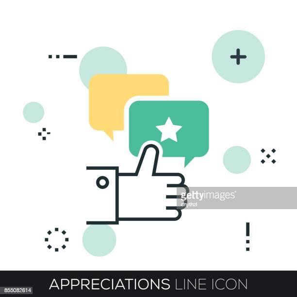 ilustrações, clipart, desenhos animados e ícones de ícone de linha de apreciações - employee