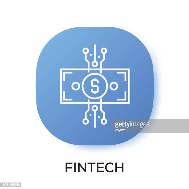 fintech app icon - financial technology stock illustrations, clip art, cartoons, & icons