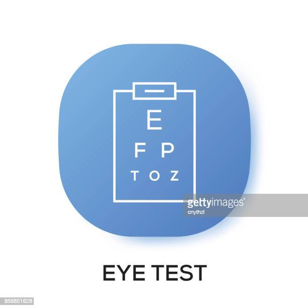 eye test app icon - ophthalmology stock illustrations, clip art, cartoons, & icons