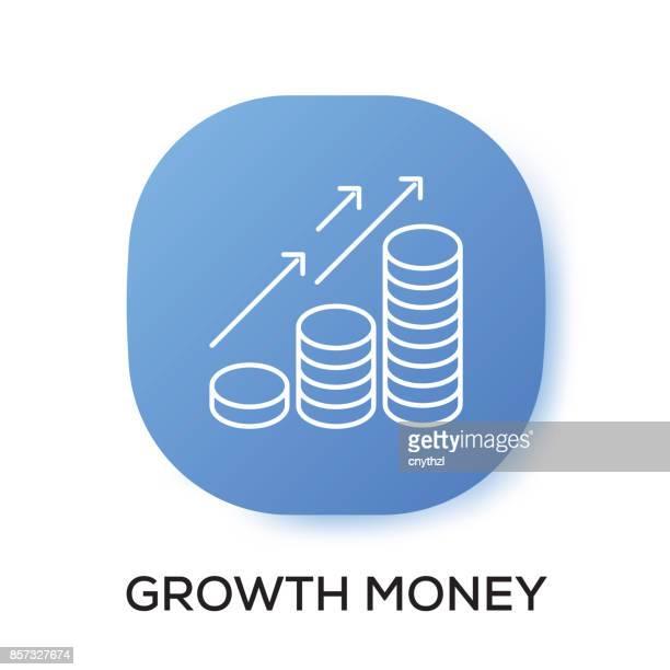 ilustrações, clipart, desenhos animados e ícones de ícone de app de dinheiro de crescimento - mobile phone