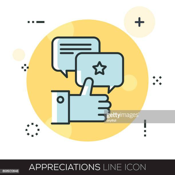 appreciations line icon - testimonial stock illustrations, clip art, cartoons, & icons