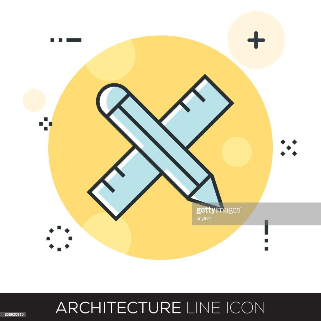 ARHCITECTURE LINE ICON : stock illustration