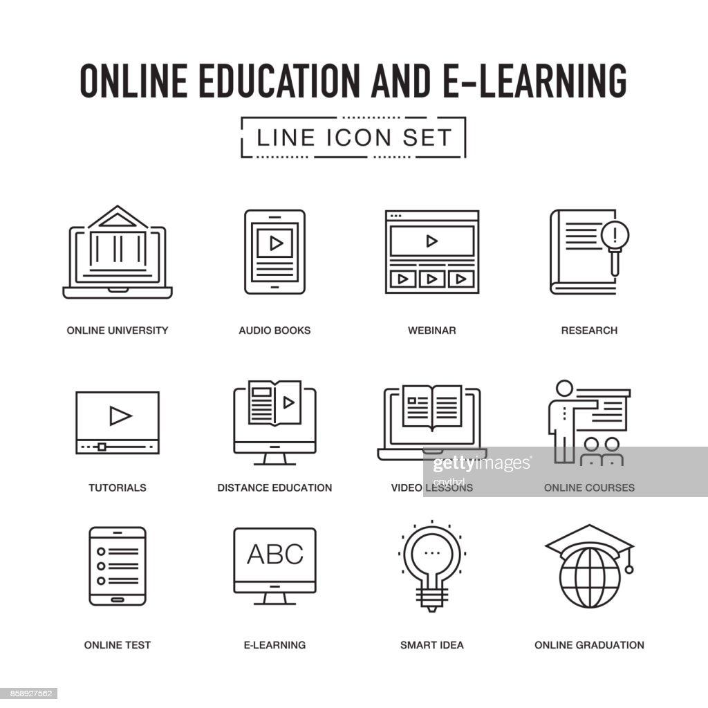 ONLINE EDUCATION LINE ICONS SET : stock illustration