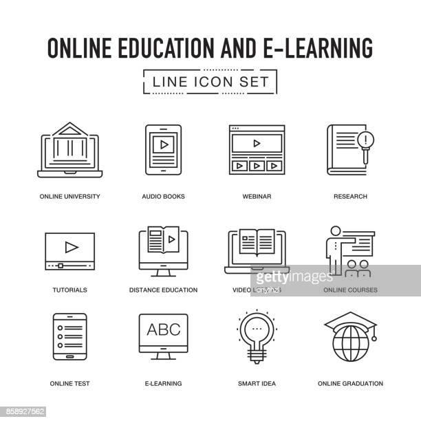ONLINE EDUCATION LINE ICONS SET