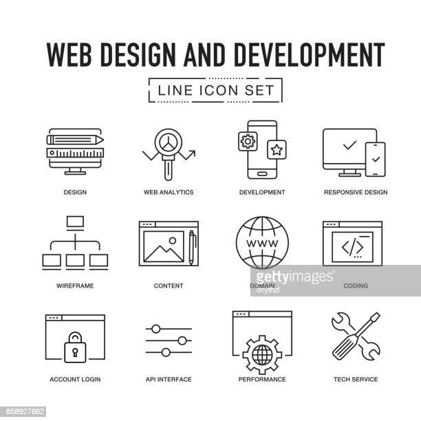 WEB DESIGN AND DEVELOPMENT LINE ICON SET