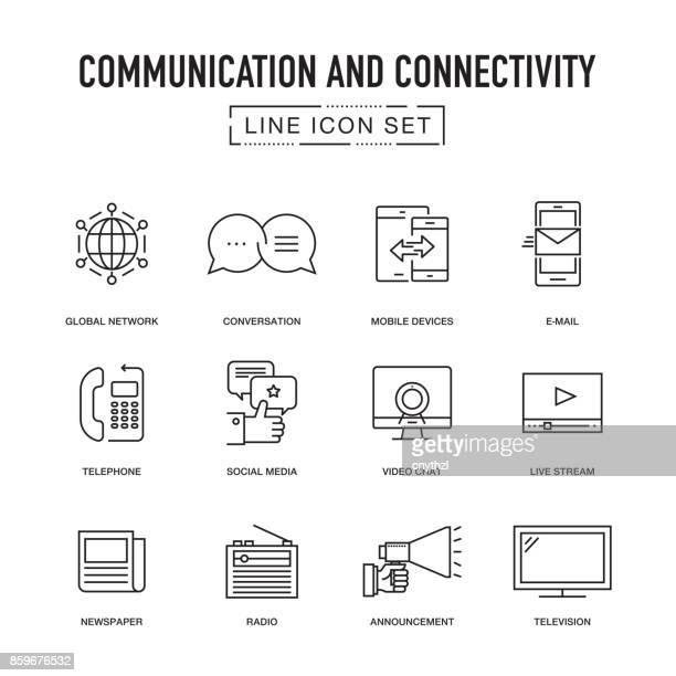 illustrations, cliparts, dessins animés et icônes de communication et connectivité ligne set d'icônes - média