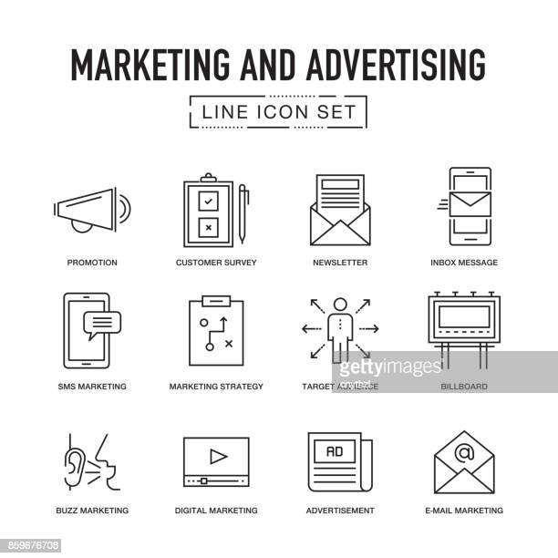 MARKETING AND ADVERTISING LINE ICONS SET