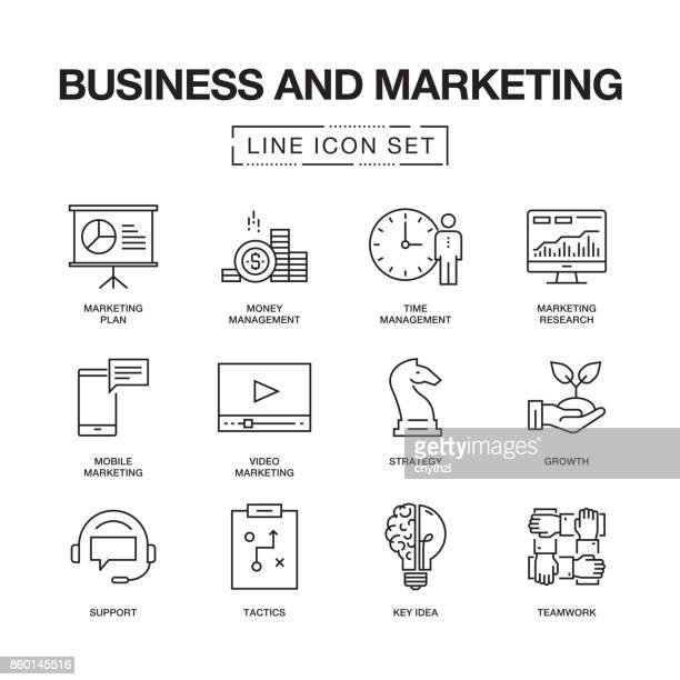 BUSINESS- UND MARKETING-LINIE ICONS SET