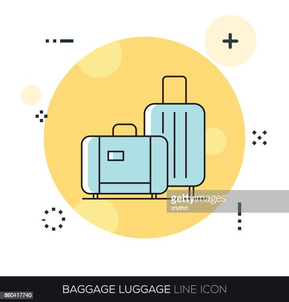 baggage luggage line icon - tourist stock illustrations