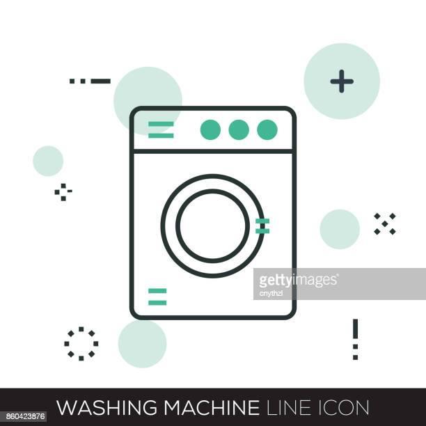 washing machine line icon - laundry detergent stock illustrations, clip art, cartoons, & icons