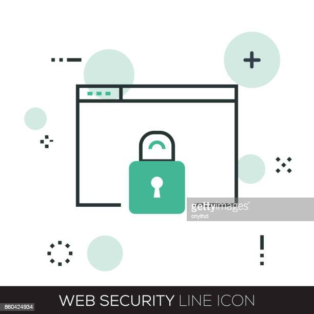 web security line icon - lock sporting position stock illustrations