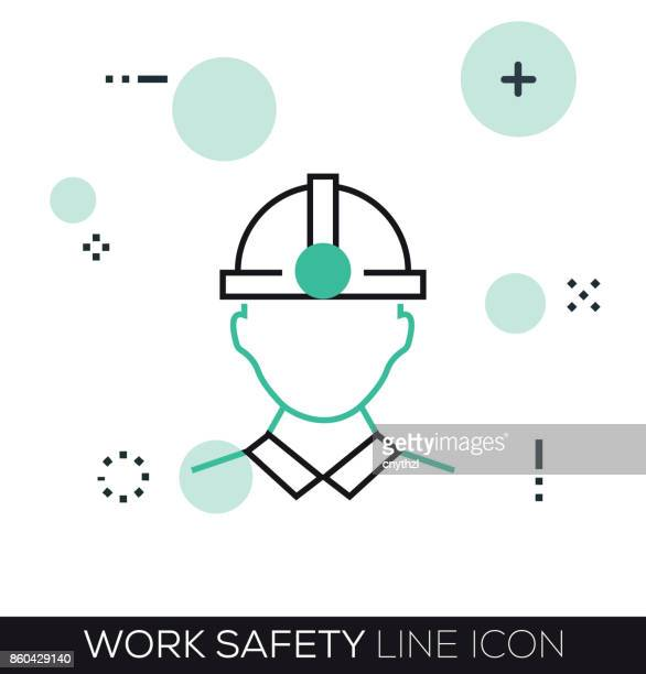 work safety line icon - medical ventilator stock illustrations, clip art, cartoons, & icons