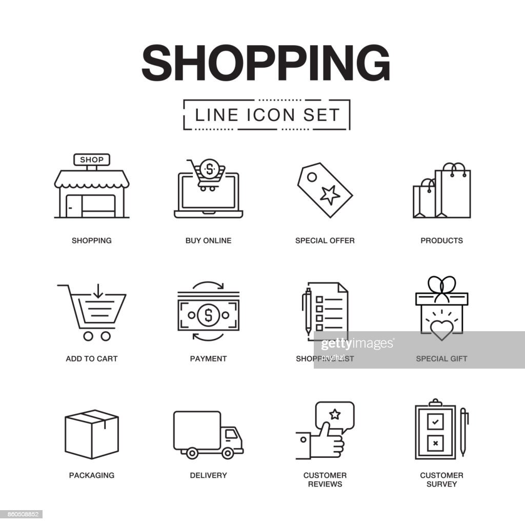 SHOPPING LINE ICONS SET : stock illustration