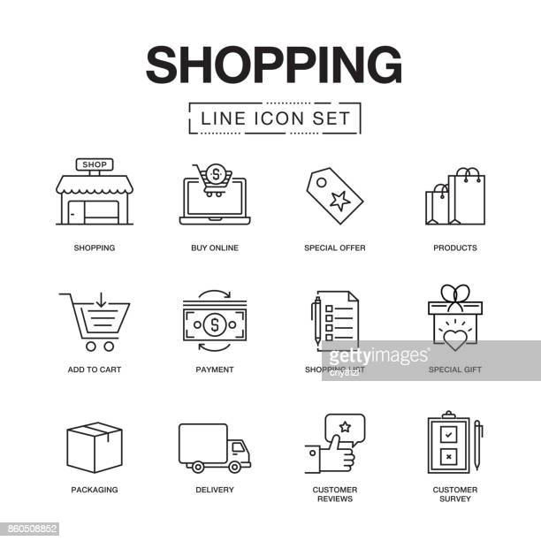 shopping line icons set - travel tag stock illustrations, clip art, cartoons, & icons