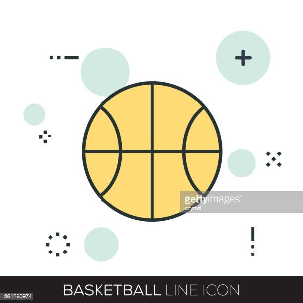 ilustraciones, imágenes clip art, dibujos animados e iconos de stock de icono de la línea de baloncesto - cancha futbol