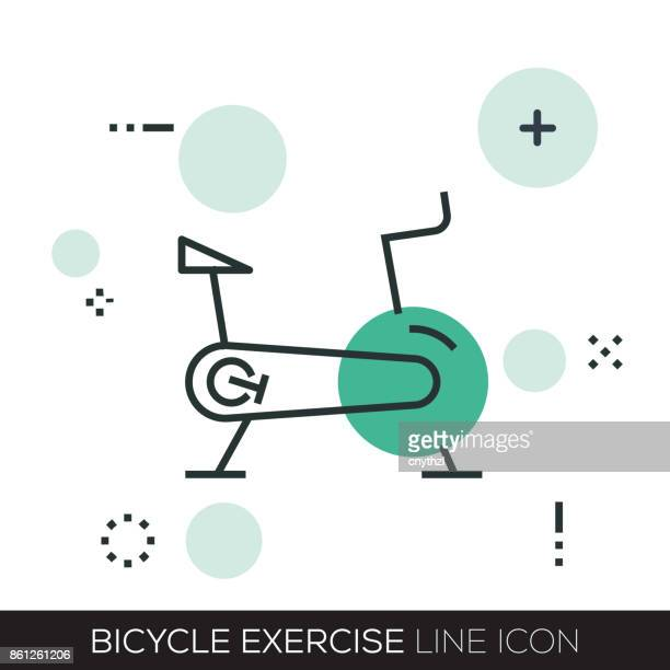 bicycle exercise line icon - cardiovascular exercise stock illustrations, clip art, cartoons, & icons