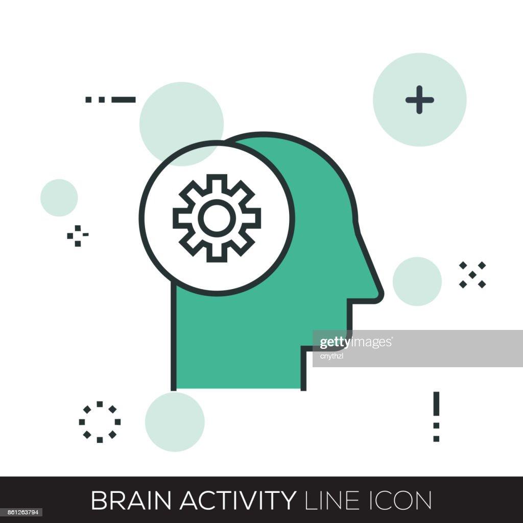 BRAIN ACTIVITY LINE ICON