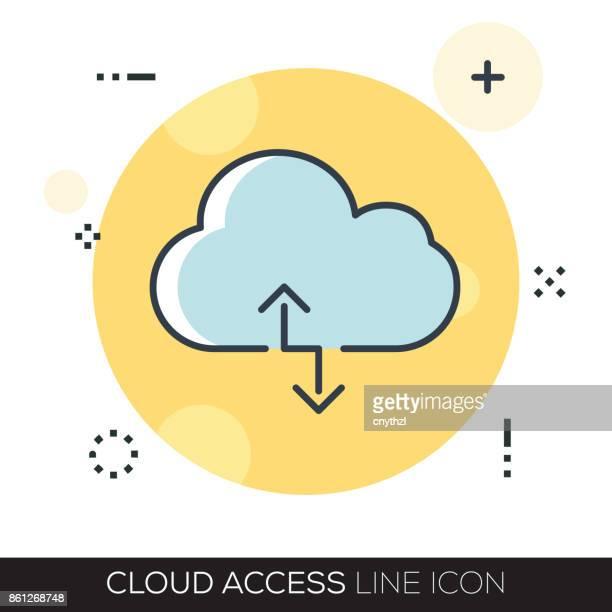 stockillustraties, clipart, cartoons en iconen met wolk toegang lijn pictogram - match sport