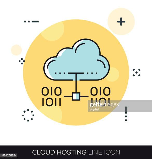 cloud hosting line icon - access control stock illustrations, clip art, cartoons, & icons