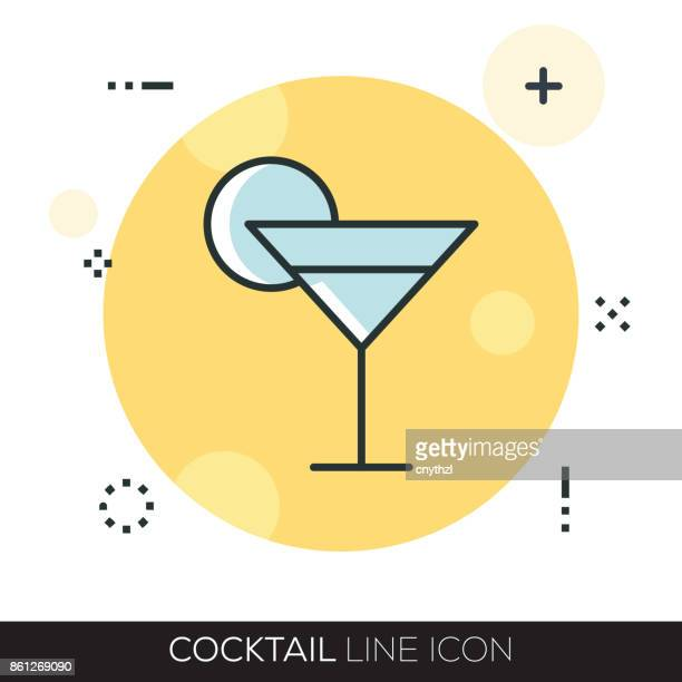 cocktail line icon - cognac brandy stock illustrations, clip art, cartoons, & icons