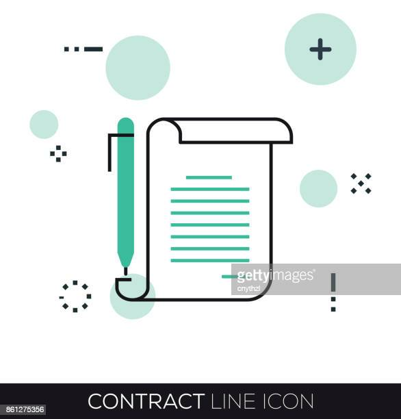 contract line icon - sign language stock illustrations, clip art, cartoons, & icons