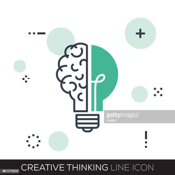 creative thinking line icon - contemplation stock illustrations, clip art, cartoons, & icons