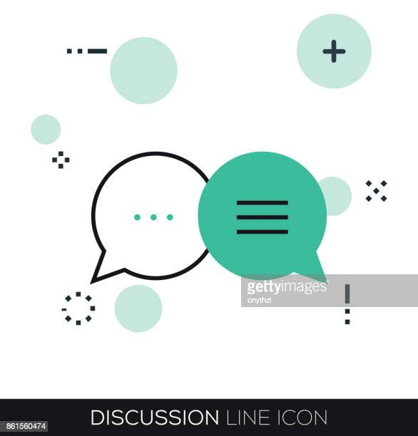 discussion line icon - discussion stock illustrations