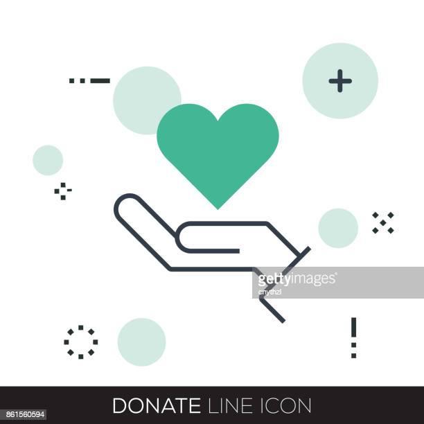 ilustrações, clipart, desenhos animados e ícones de doar a linha ícone - relief emotion
