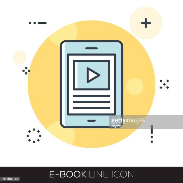 e-book line icon - enciclopedia stock illustrations, clip art, cartoons, & icons