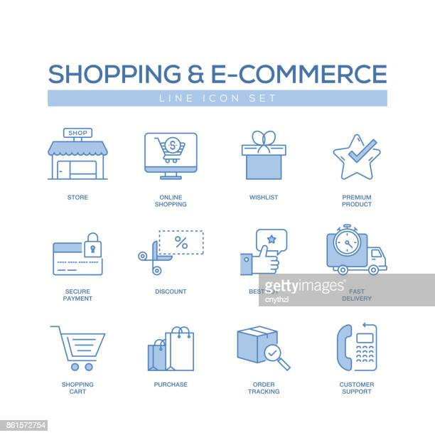 SHOPPING AND E-COMMERCE LINE ICONS SET