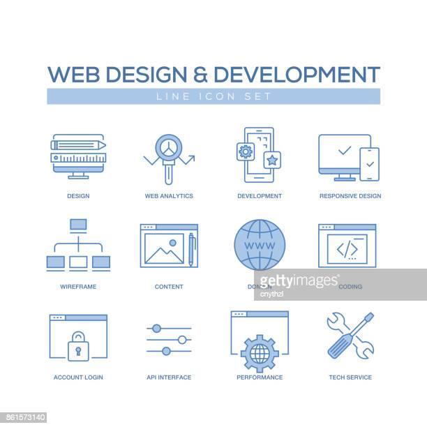 WEB DESIGN AND DEVELOPMENT LINE ICON SET