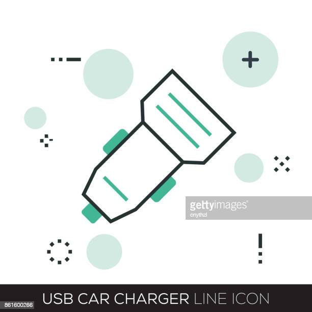 usb car charger line icon - battery park stock illustrations, clip art, cartoons, & icons