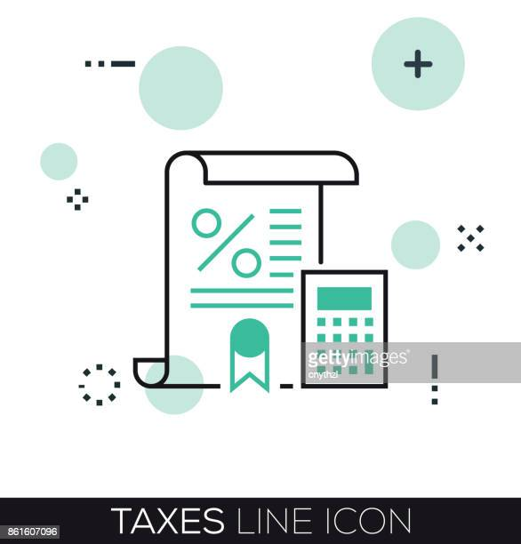 taxes line icon - paycheck stock illustrations, clip art, cartoons, & icons
