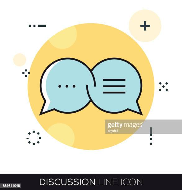 discussion line icon - press conference stock illustrations, clip art, cartoons, & icons