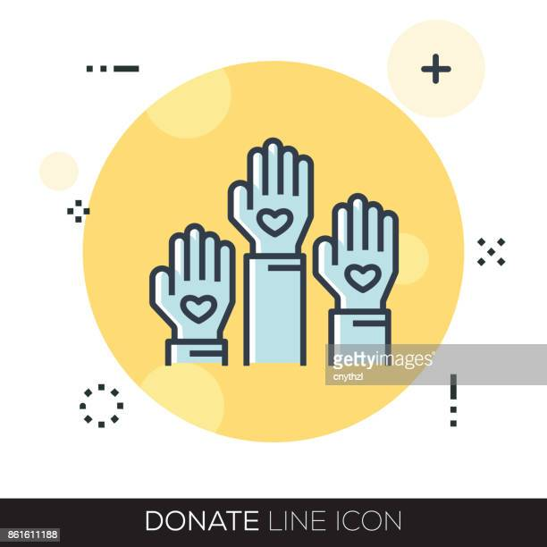donate line icon - relief carving stock illustrations