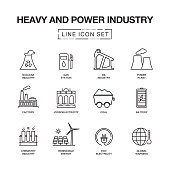 HEAVY AND POWER INDUSTRY LINE ICONS SET