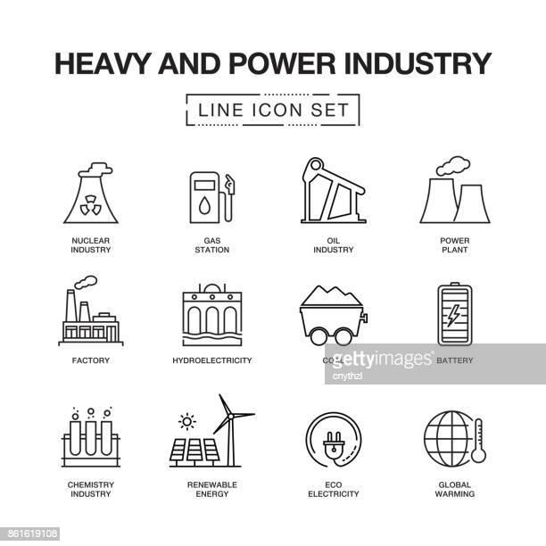 ilustraciones, imágenes clip art, dibujos animados e iconos de stock de industria pesada y de la energía línea iconos conjunto - torre petrolera