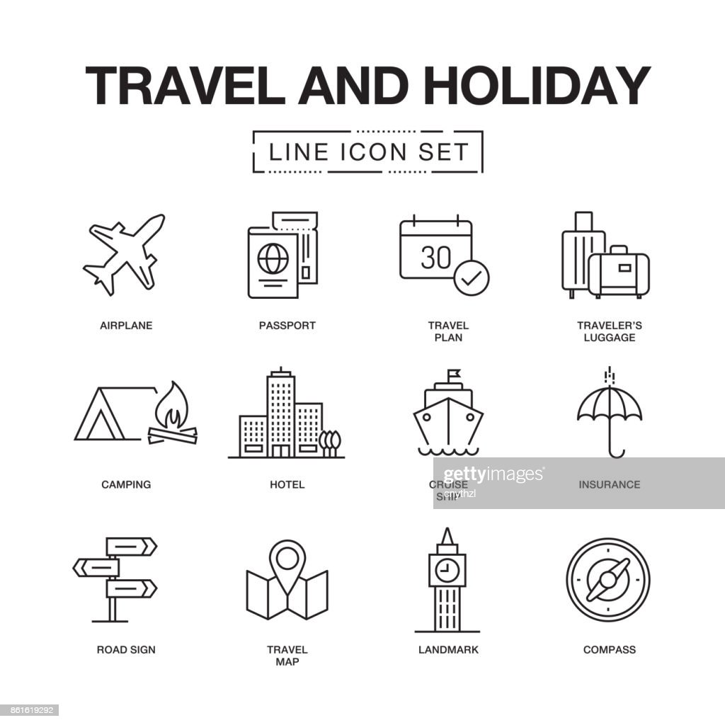 TRAVEL AND HOLIDAY LINE ICONS SET : stock illustration