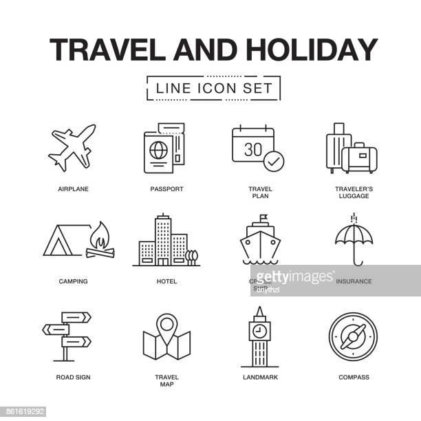 ilustraciones, imágenes clip art, dibujos animados e iconos de stock de conjunto de iconos de línea de vacaciones y viajes - destinos turísticos