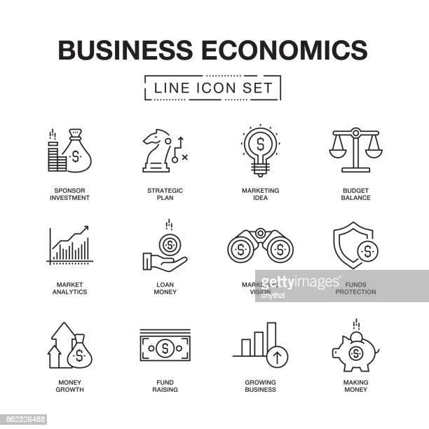 business economics line icons set - accountancy stock illustrations, clip art, cartoons, & icons